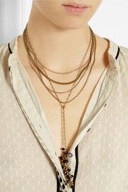 Isabel MarantMulti-strand gold-tone crystal necklace