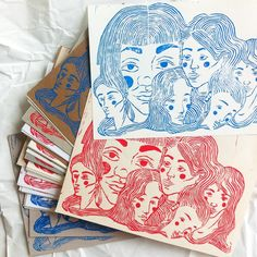 I made some limited linocut prints in blue and red on different sheets of paper. Just 70 handmade copies. Each differs. In A5 format. : ) #linocut #red #blue #print #linocutprint #linoleum #cut #girls #women #heads #illustration #art #instaart #instagirl #printing #paper #papermix #limited