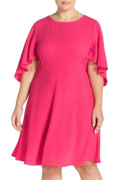 Taylor Dresses Capelet Sleeve Crepe A-Line Dress (Plus Size) available at #Nordstrom