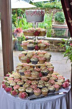 Pink & Ivory Rose Wedding Cupcake Tower by ConsumedbyCake, via Flickr