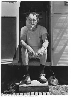 Bob Melvin, The Man With Two Faces in Fargo, ND behind the bally in his trailer. (1976)