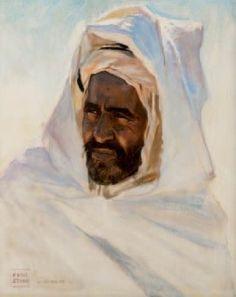 Peintre Polonais Adam Styka (1890 - 1959) ,Huile sur toile , Titre :Portrait d'un bédouin