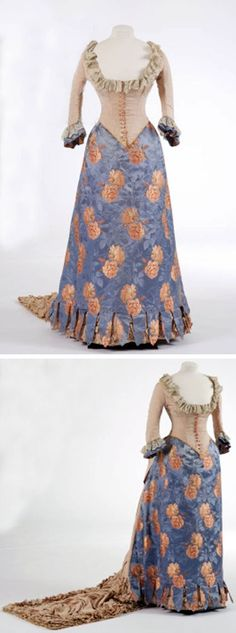 Evening dress, Britain, 1880s. Woven silk, ribbed silk, and brocade. Fashion Museum, Bath, via the Bridgman Archives