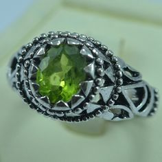 Awesome Sterling Silver Natural Peridot Men Ring by ZeynepGems