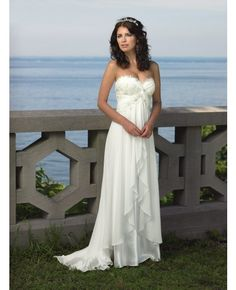 Long Chiffon Beach Wedding Dresses Modest Elegant Chiffon Wedding ...