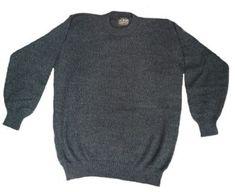 Pullover Strick Alpaka Wolle Grau-Blau Wollpullover Peru Rundhals Pulli L Unisex