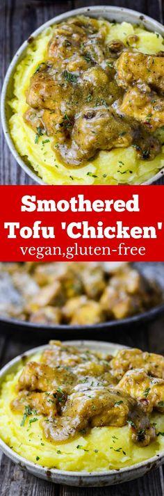 Smothered Tofu Chicken, #veganfood gluten free recipes #glutenfreerecipe #GlutenFree #soulfood