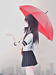 Hình nền hoạt hình cô gái dưới mưa cực đẹp