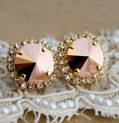 Crystal stud big Gold crystal earrings  14 k plated by iloniti, $47.00