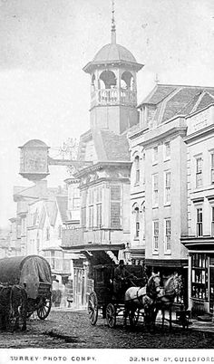 surrey, guildford high street, old photo of  a horse and carriage