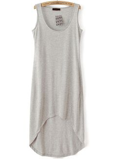 Grey Sleeveless High Low Tank Dress EUR€13.22
