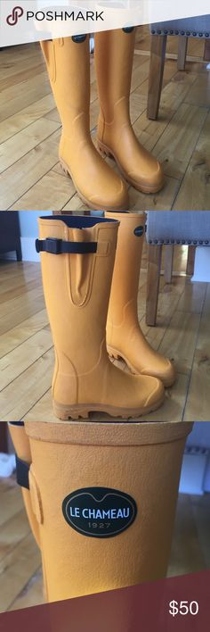 Le Chameau Vierzon Rain boots super cute and preppy bright yellow wellington boots. worn a handful of times. slightly scuffed. adjustable tightening strap. designer worn by kate Middleton 👸🏻 handmade in 🇫🇷 since 1927. le chameau Shoes Winter & Rain Boots