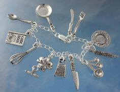 Chef Charm Bracelet- Pewter Cooking Utensils- Sterling Silver Chain - For Cooks