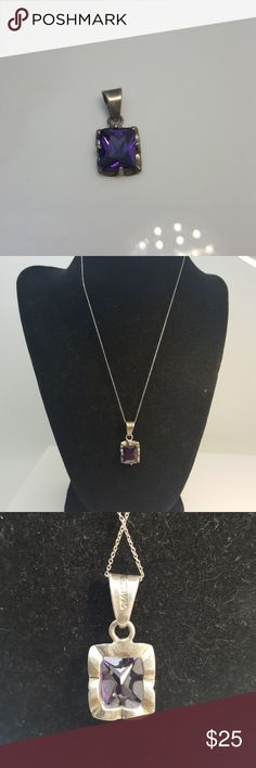 925 silver pendant with purple stone 925 silver pendant with purple stone 1 inch Jewelry Necklaces