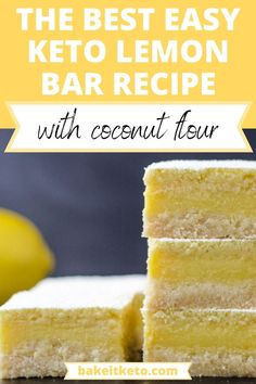 Make these quick and luscious low carb lemon bars for a fresh, tangy, easy keto dessert! Peanut Butter Recipes, Coconut Recipes, Lemon Recipes, Baking Recipes, Keto Dessert Easy, Dessert Recipes, Fat Bombs Low Carb, Fluff Recipe, Low Carb Sweets