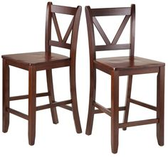 This set comes with 2 V-back bar stools/chairs, Assembled size is 16.54''W x 19.21''D x 39.17''H, 2 stools/chairs seat dimensions 16.54''W x 15.55''D, Seat height 24'', Back rest dimensions are 16.54''W x 15.24''H , Made of solid wood in walnut finish, Ready to assemble, We're sorry; at this time, Winsome Wood products do not ship to Canada, Not recommended for commercial use