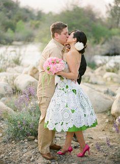 crocheted doilies wedding dress