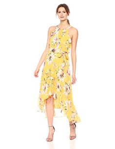Vince Camuto Women's Floral Chiffon Maxi Dress, Yellow, 8 Floral Chiffon Maxi Dress, Dress Skirt, Shirt Dress, Evening Dresses, Summer Dresses, Summer Fashion Trends, Yellow Dress, Dress Outfits, Beachwear
