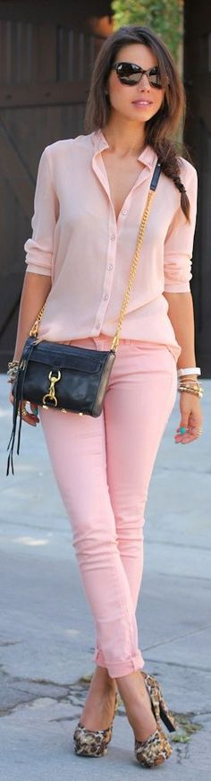 Nice pink on pink. -- 60 Great Summer - Fall Outfits @styleestate