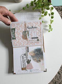 """Je vous présente aujourd'hui un projet qui me tenait à cœur depuis très longtemps... le mini-album """"Cactus"""". C'est la collection """"Botanical... Flower Bookey, Flower Film, Cactus Flower, Flower Pots, Mini Cactus, Album Photo Scrapbooking, Mini Albums Scrapbook, Diy Photo, Mini Album Scrap"""