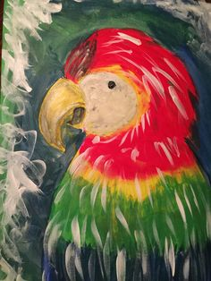 Bored and wanted to paint the parrot I pinned! Thank you to whoever shared that!