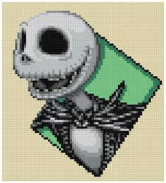 PDF Cross Stitch pattern 0244.Jack Skellington by PIXcross