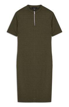 Khaki Rib Zip Neck Midi Dress