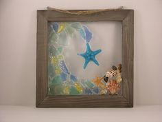 Starfish & Waves! Beach Glass Framed Art by SeasidesbyDesign on Etsy