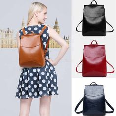 Fashion Women Anti-Theft Shoulder Handbag PU Leather Backpack Casual Bag