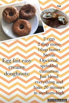 ceto-almo o cozer Eggfast Recipes, Donut Recipes, Low Carb Recipes, Easter Recipes, Dessert Recipes, Cheesecake Brownies, Cream Cheeses, Stevia, Egg Fast Rules