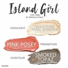 Island Girl Eye Trio uses three SeneGence ShadowSense : Sandstone Pearl Shimmer, Pink Posey and Smoked Topaz. These creme to powder eyeshadows will last ALL DAY on your eye. #shadowsense #trio  #eyeshadow