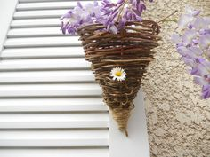 Rustic Handmade Wall Pocket / Wisteria Vine Cone / French Country Cottage / Wedding / Farmhouse Chic https://www.etsy.com/listing/190082843/rustic-handmade-wall-pocket-wisteria?ref=teams_post