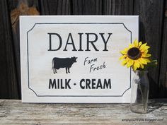 Simply Country Life: Cabinet Doors Repurposed into Dairy Signs #simplycountrylife #farmhousestyle #cabinetdoor #repurpose #silhouettecameo