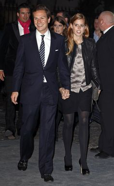 Princess Beatrice and her boyfriend Dave Clark at the premiere of the new Bond film Skyfall, behind them is Princess Eugenie