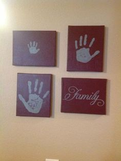 Diy handprints on canvas. Canvases,
