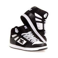 DC Shoes Womens Rebound Hi Leather Skate Casual Skate Shoes | eBay ❤ liked on Polyvore featuring shoes, sneakers, real leather shoes, dc shoes, leather skate shoes, dc shoes footwear and leather sneakers