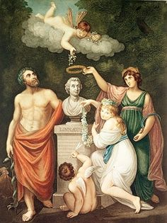 English School - Aesculapius, Flora, Ceres and Cupid Honouring the Bust of Linnaeus, plate 17 from ''The Temple of Fl
