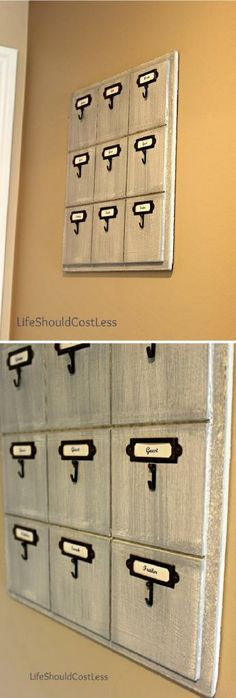 """Smaller blocked. four blocks in each row.. Months instead of names and """"birthday keys"""" on the hooks. BAM! :)"""