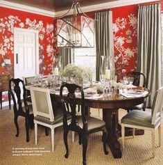 The Color Red, A Misconception And How To Work With It - laurel home | stunning dining room by Joe Nye with red and white #chinoiserie #wallpaper