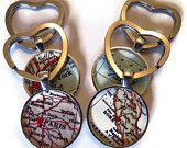 Custom keychain, personalized map key chain birthday gifts, custom map pendants for men. $12.95, via Etsy.