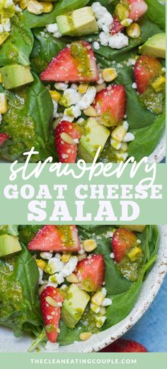 This Strawberry Avocado Goat Cheese Salad is the perfect Summer salad! Packed with fruit, cheese and veggies - it's delicious and easy to put together! #salad #healthy #dinner #avocado #goatcheese Clean Eating Salads, Easy Clean Eating Recipes, Easy Salads, Healthy Salad Recipes, Detox Recipes, Summer Salads, Healthy Eating, Healthy Vegetable Recipes, Healthy Gluten Free Recipes