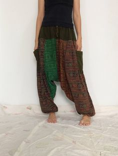 Mixed Colors Hippie Harem Pants, Unisex Pants, Drop Crotch Pants, Baggy Pants with Om patterned (HR-563) by ThaiFascinate on Etsy