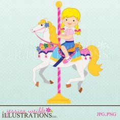 Girl on Carousel Horse