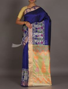Suvreen Royal Blue With Tribal Folklore On Border Pallu Mulberry Silk Saree