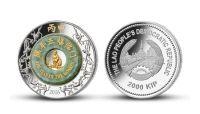 Rok ohnivej opice - minca z 2 uncí striebra s pravým nefritom