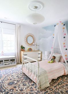 A Darling whimsical and modern girls bedroom featuring wallpaper, blush striped . A Darling whimsical and modern girls bedroom featuring wallpaper, blush striped bedding, and eclect Modern Girls Rooms, Big Girl Bedrooms, Little Girl Rooms, Modern Bedroom, Bedroom Decor, Trendy Bedroom, Curtains For Girls Bedroom, Colorful Girls Room, City Bedroom