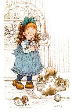 Sarah Kay Wrong colour for Princesses puppies, but she had five. Sarah Key, Holly Hobbie, Sara Key Imagenes, Cute Images, Cute Pictures, Illustrations Vintage, Dibujos Cute, Vintage Drawing, Sweet Pic