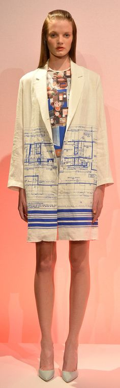 Clover Canyon - Spring 2014 technical drawing prints, oversized blazer, lab coat chic