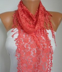 Coral Lace Scarf -  Shawl Scarf Women Scarves Cowl Scarf Bridesmaid Gift - fatwoman