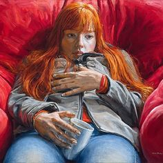 """Redhead"", this is Paulina, a girl from Virginia, she has stunningly red natural hair, I needed to paint her! Oil on linen, 89x130cm  #portrait #redhead #red #hair  #art #fineart #painting #oilpainting #figurativeart #oiloncanvas #coffee #sofa #micheledelcampo"